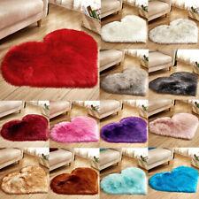 Fluffy Heart Shaped Area Rugs Shaggy Anti-Skid Home Bedroom Carpet Floor Mat New