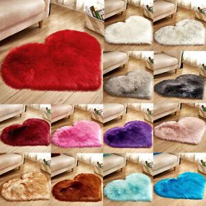 Home Heart Shaped Fluffy Rug Floor Shaggy Mat Fur Bedroom Hairy Carpet S M L .