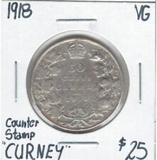 "Canada 1918 Silver 50 Cents VG Counter Stamp ""Gurney"""