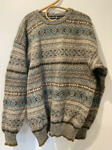 Vintage Pure Wool Coogi Cosby Style Jumper Size XXL NEUTRAL earth Natural