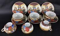 Ensemble de 6 tasses thé et 6 sous tasses en porcelaine fines Japonaise Vintage