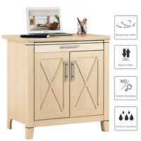 Natural Wood Storage File Cabinet Sideboard Cupboard Console Table with 2 Doors