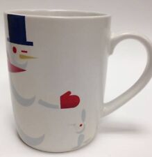 New~Starbucks Winking Snowman Top Hat Red Scarf Holiday Logo Mug Cup 2012 10 Oz