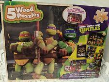 Nickelodeon Teenage Mutant Ninja Turtles 5 Wood Puzzle & Storage Wood Box SEALED