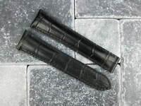 OMEGA 20mm Black Leather Deployment Strap Black Stitch Watch Band Planet Ocean