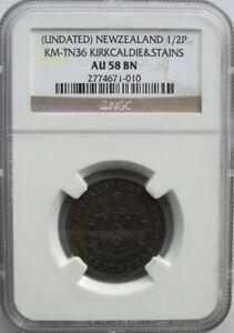 New Zealand 1/2 Penny Kirkcaldie & Stains, NGC AU 58 BN, Andrew 312, KM Tn 36