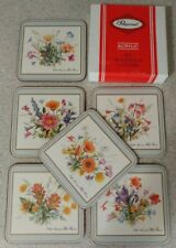 Vintage Pimpernel Coasters Meadow Flowers Set of 6  MINT IN BOX