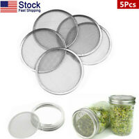 US 5x Seed Sprouting Mesh Screen Strainer Filter Lids Covers for Mason Jars New
