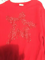 NEXT Girls Red Sparkly Jumper Age 12 years With Red Star - Xmas party