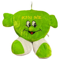 Heart Shaped Green Kiss Me Novelty Hanging Soft Plush Accessory Toy