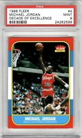 1986 Fleer Micheal Jordan Rookie RC #4 Decade of Excellence 1996 MINT PSA 9