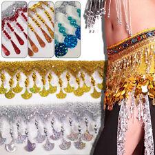 1Yrs Beaded Sequin Tassel Fringe Trim Lace Ribbon For Latin Dance Costume Decor