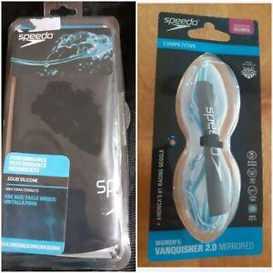 Womens Vanquisher 2.0 Mirrored Speedo swimming goggles blue & silicone cap