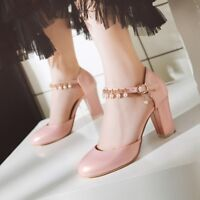 Womens Block High Heels Beads Buckle Pumps Sandals Round Toe Mary Jane Shoes