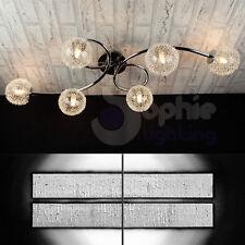 Plafoniera lampadario soffitto design moderno acciaio cromato sfere vetro salone