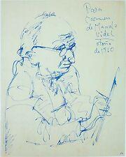 SELF PORTRAIT. BLUE INK ON PAPER. MANUEL VIDAL (1929-2004). CUBA (?). 1960.