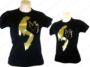 MJ MICHAEL JACKSON RIP REMEMBRANCE T SHIRT CRYSTAL GOLD
