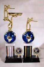 1st and 2nd - 8 Ball Billiard Trophies with globe - Free Engraving