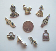 9 asst tibetan silver girlie charms handbag dress shoe