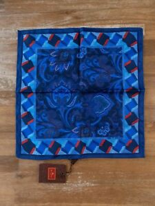 ETRO Milano reversible blue paisley motif silk pocket square authentic - NWT