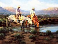 Sagebrush Stories by Bruce Graham 2 Cowboys on Horseback Western SN LE Print 🤠