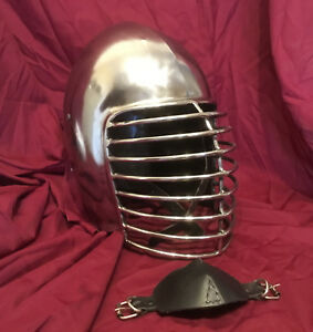 Superior Bar Grill Bascinet Helm for SCA Heavy Combat Knight Helmet w/ CHINSTRAP