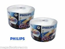 100 Philips DVD-R 16X Full Logo Blank Media Recordable DVDR 4.7GB Shrink Wrapped