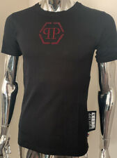 Philipp Plein Original Large Black/Red Platinum Cut Crystal T-shirt BNWT