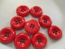 LOT OF 9 RED 1 5/16 INCH 4 HOLE BUTTONS, NEW