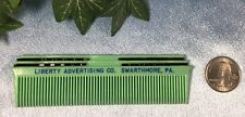 CLEAN Vintage Green Pocket Comb + 4 Bobby Pins: Advertising. #9317