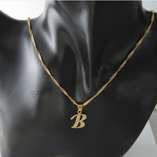 18ct Gold Filled Initial Necklace B, Alphabet Letter Pendant Chain Topaz Dainty
