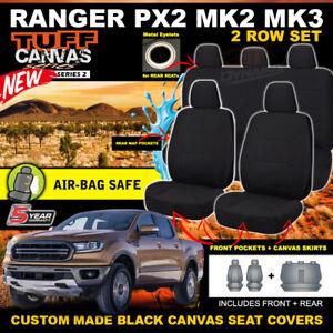 BLACK TUFF CANVAS FORD PX2 RANGER MK2 MK3 Dual Cab Seat Covers XL XLT 6/2015-20
