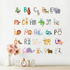 Animal Letter Alphabet Stickers Cartoon Jungle Kids room Wall Poster Mural Decal