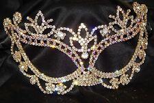 Gold AB Rhinestone Crystal Masquerade Mask Mardi Gras Party W. Black Ribbon