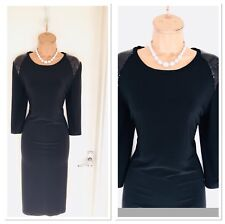 JOSEPH RIBKOFF Black Jersey Stretch Bodycon Dress With Sequinned Shoulders Uk14