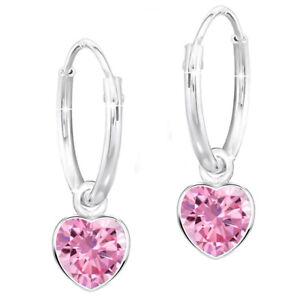 Creolen rosa X1o 925er echt Silber Kristall für Mädchen Kinder Herz Ohrringe