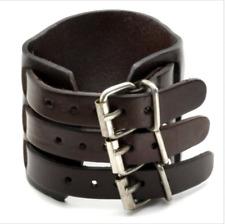 Men's Wide Alloy Leather Bracelet 3 Layer Buckle Belt Cuff Wrist Bangle