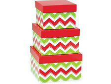 NEW Nested Boxes Set 3 Chevron Christmas Red Green Gift Storage Nesting Tower