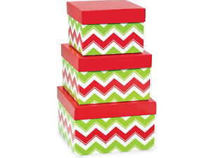 New Nested Gift Boxes Set 3 Chevron Christmas Holiday Red Green Nesting Tower
