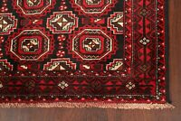 All-Over RED/BLACK Balouch Afghan Geometric Area Rug Hand-Knotted Carpet 4'x7'