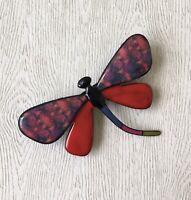 Unique large Dragonfly Brooch  enamel on Metal