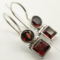 "925 Silver Genuine GARNET Earrings 1"" SEMI PRECIOUS GEMSTONE"
