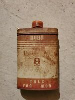 Vintage Avon Talc For Men Metal Can 1950's Forest green red w vintage car on tin