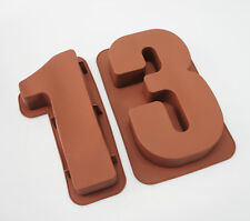 "LARGE 12"" SILICONE NUMBER MOULDS 13 CAKE TINS BAKING PAN BIRTHDAY 13th Teenager"