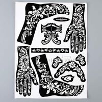 1 Set Henna Tattoo Templates Mehndi Paints Stencils Face Kit India Body Art