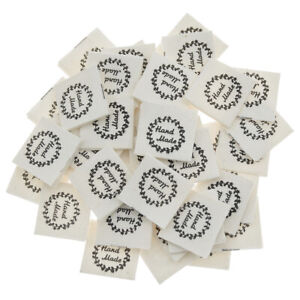 50Pcs Hand Made Garland Clothing Label Fabric Tags Garment DIY Sewing Patches