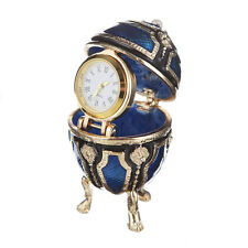 Faberge Egg / Trinket Jewel Box Russian Coat of Arms with clock 2.6'' 6.5cm blue