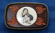 "Handcrafted Scrimshaw Hound Dog/Beagle Belt Buckle 3 1/4"" Long x 2"" Wide"