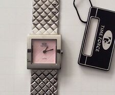 TIME FORCE WOMEN'S SILVER WATCH PINK SQUARE DIAL DESIGNER STYLE UNIQUE STYLE!