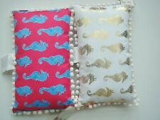 NWT LILLY PULITZER Indoor/Outdoor Pillow Pink Blue Gold Seahorse Pom Poms